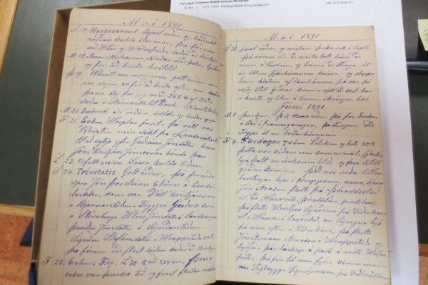 A Bárðardalur farmer's diary 1891, preserved in the Húsavík Archives. Photo Viðar Hreinsson